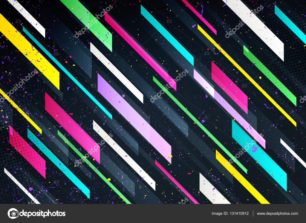 abstract colorful stripes over black background. vector geometric
