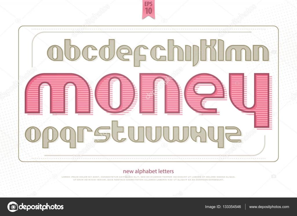 Vintage Money Alphabet Letters Vector Font Type Design Decorative