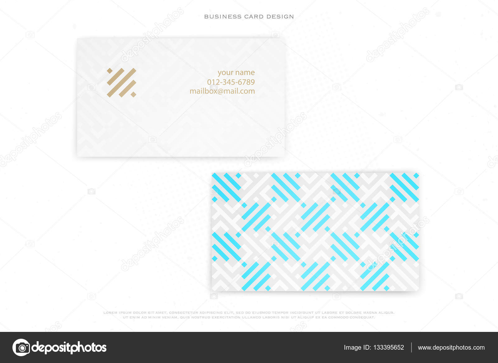 Minimal Design Business Card Isolated On White Background Vector Corporate Cards With Stylish Pattern And