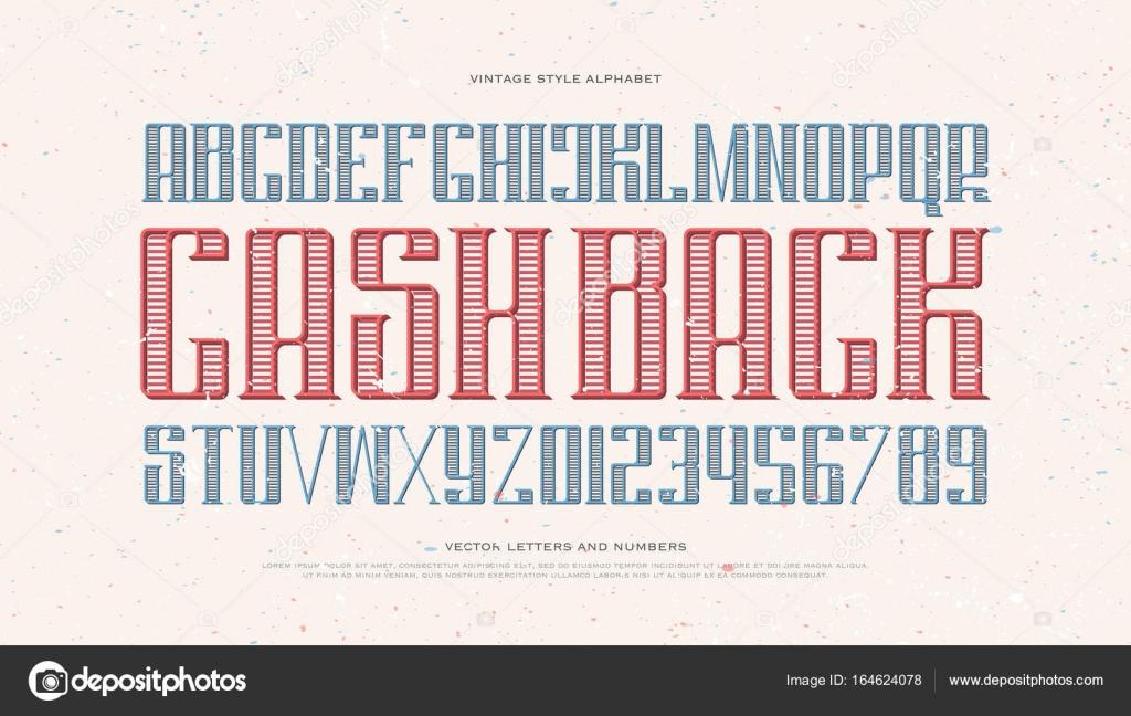 Números E Letras Do Alfabeto Vintage Dinheiro U2014 Vetor De Stock