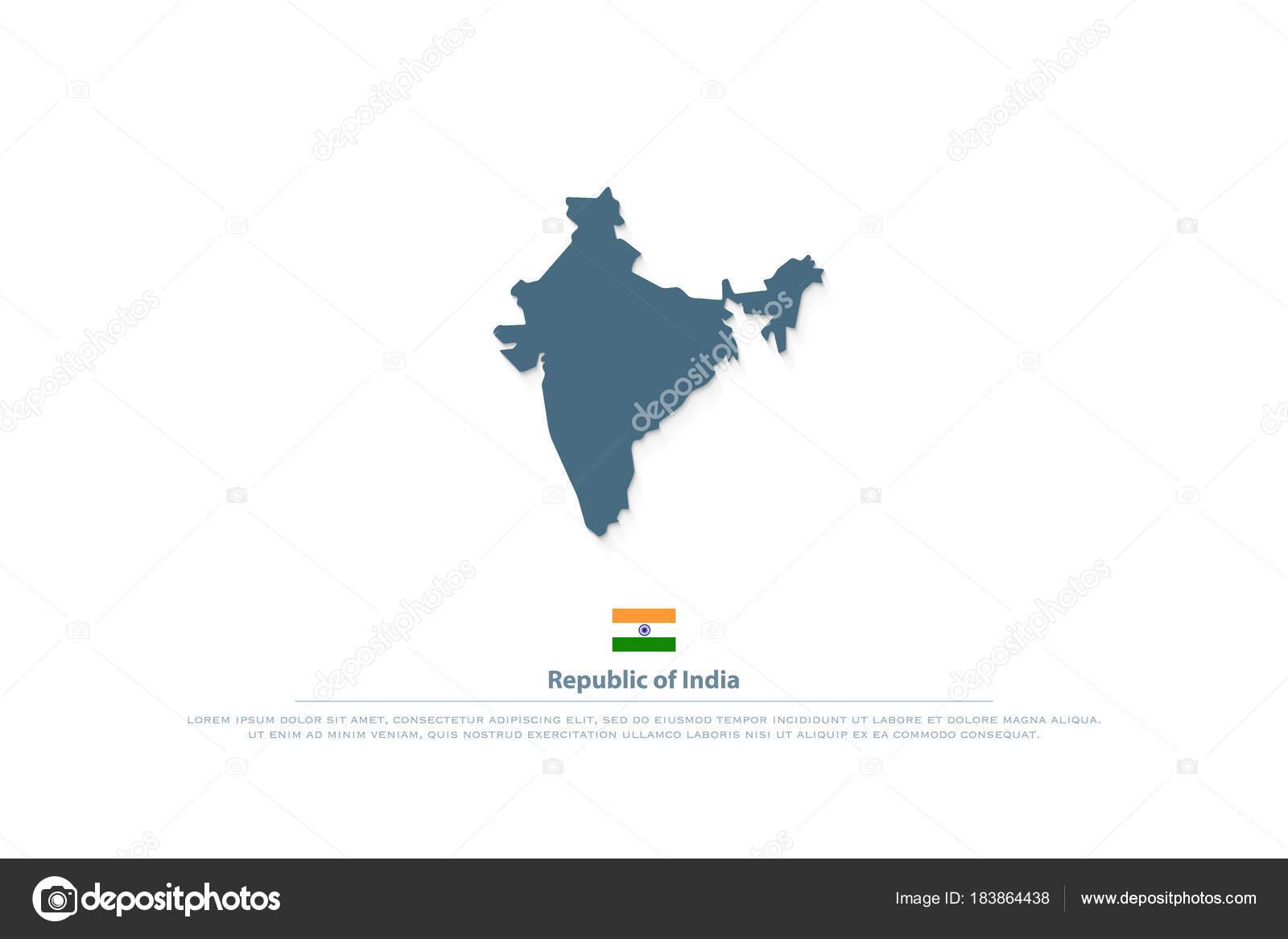 República de la India aislada mapas y el icono de bandera oficial ...