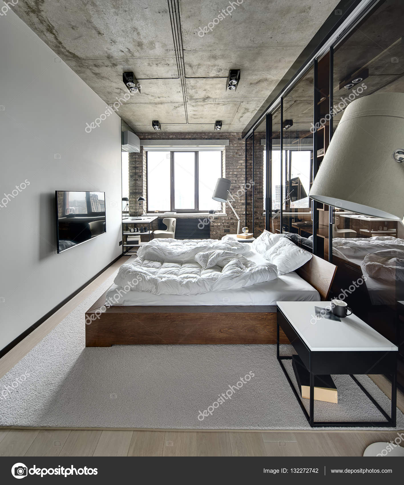 loft style bedroom stock photo bezikus 132272742. Black Bedroom Furniture Sets. Home Design Ideas