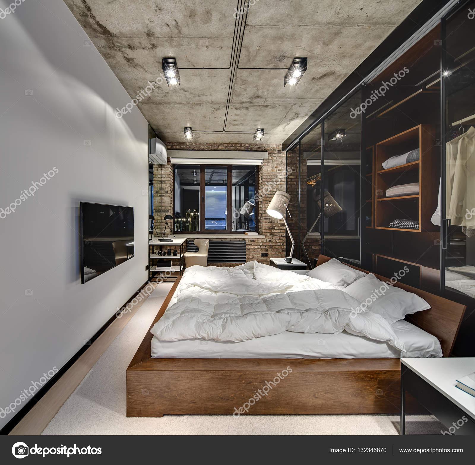 Loft stijl slaapkamer — Stockfoto © bezikus #132346870