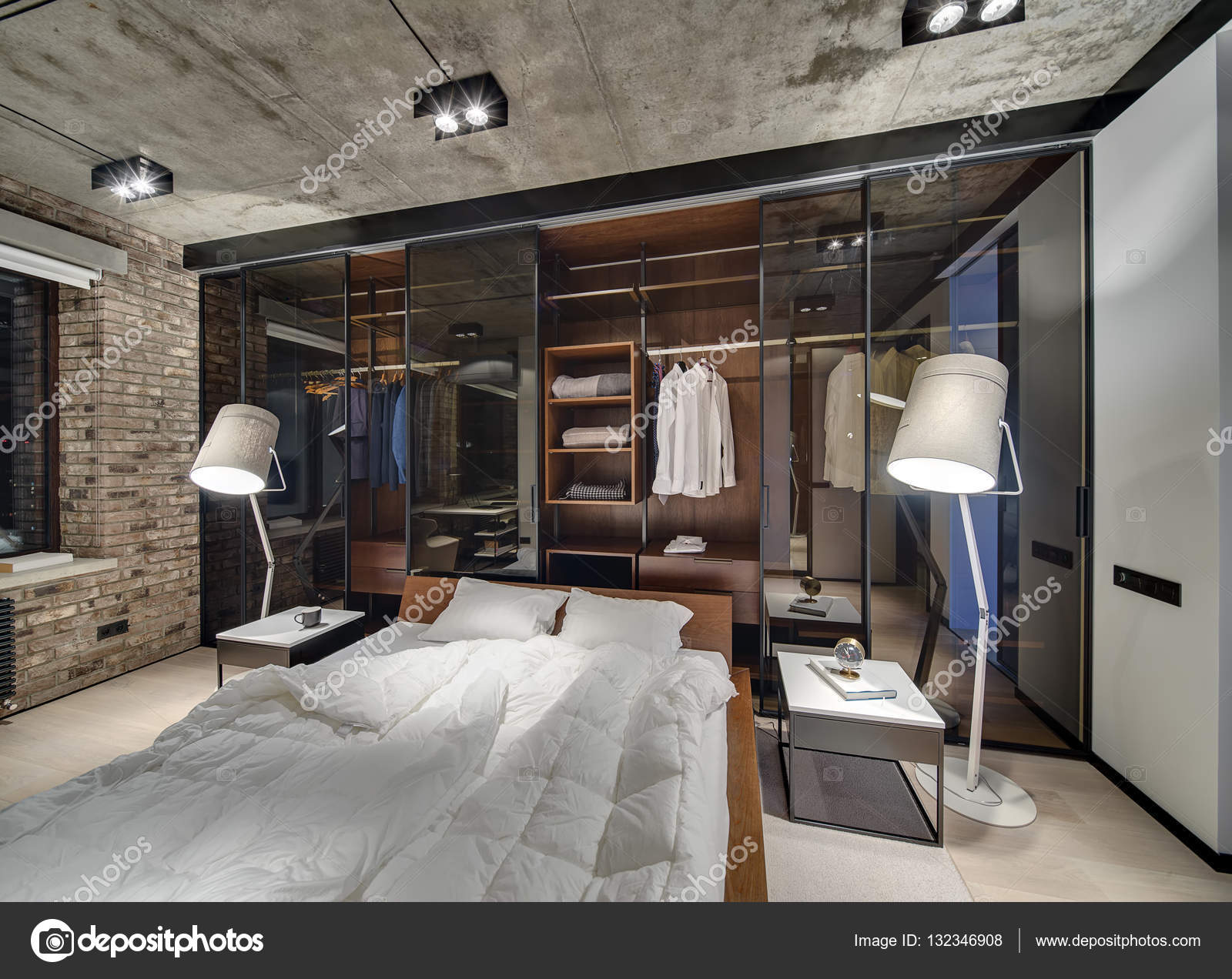 Bedroom In Loft Style U2014 Stock Photo