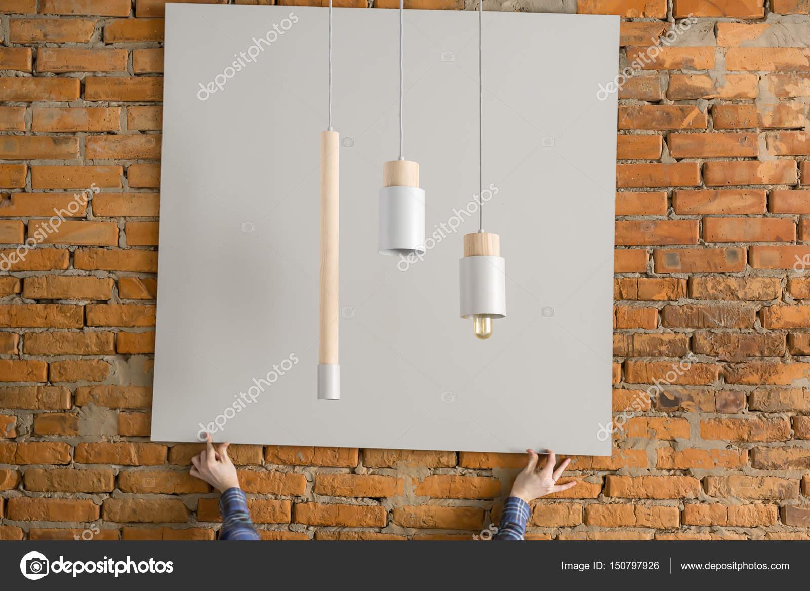 Wiszące Lampy Z Elementów Drewnianych Zdjęcie Stockowe