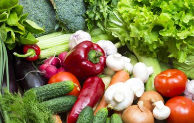Background of fresh vegetables and greens