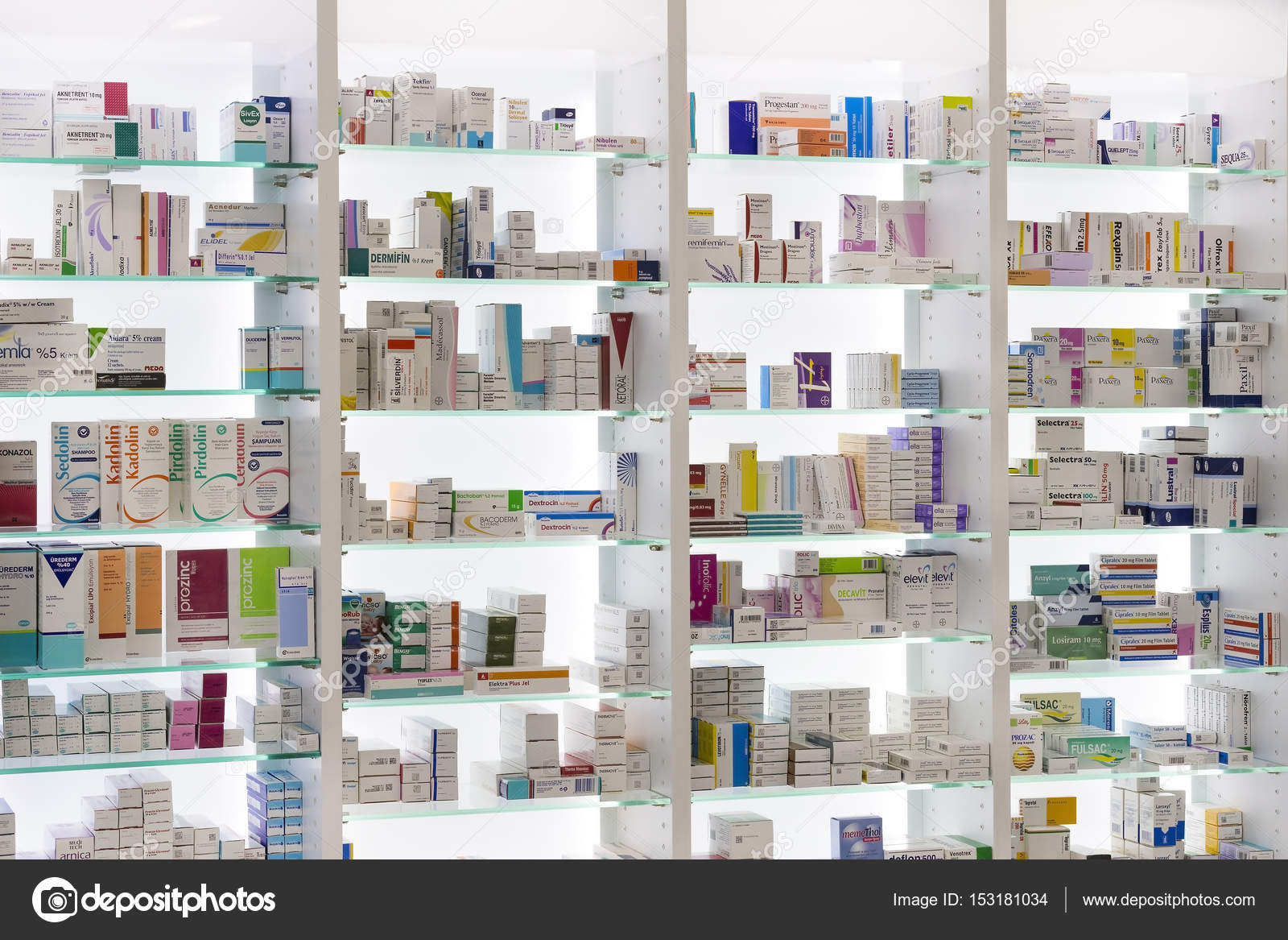 Pharmacy Cabinets With Medicines And Drugs Tablets And Food Additives U2014  Stock Photo