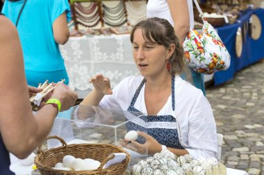 Traditional folk fair in honor of Saint Istvn and the first bread in Hungary with folk masters. Budapest. Hungary