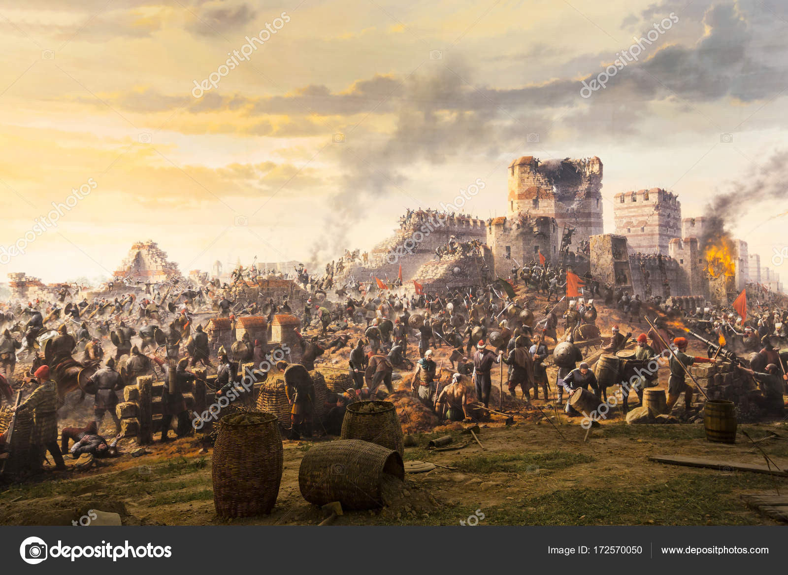 Fall of Constantinople in 1453. Captured by Mehmet. Panorama Museum 1453,  Istanbul,