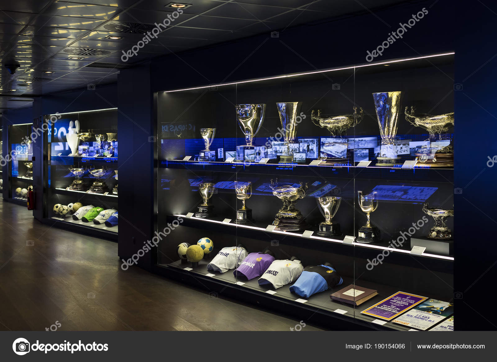 Museo Real Madrid.Madrid Spain March 2018 Museum Real Madrid Football Club Cups