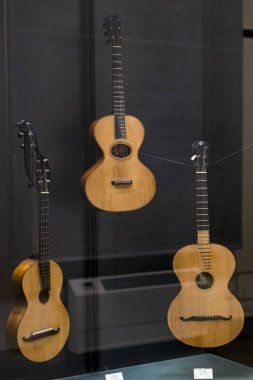 6 JUNE 2018, MILAN, ITALY: Exhibition of musical instruments of Milan is exhibited in the Sforza Castle Museum.
