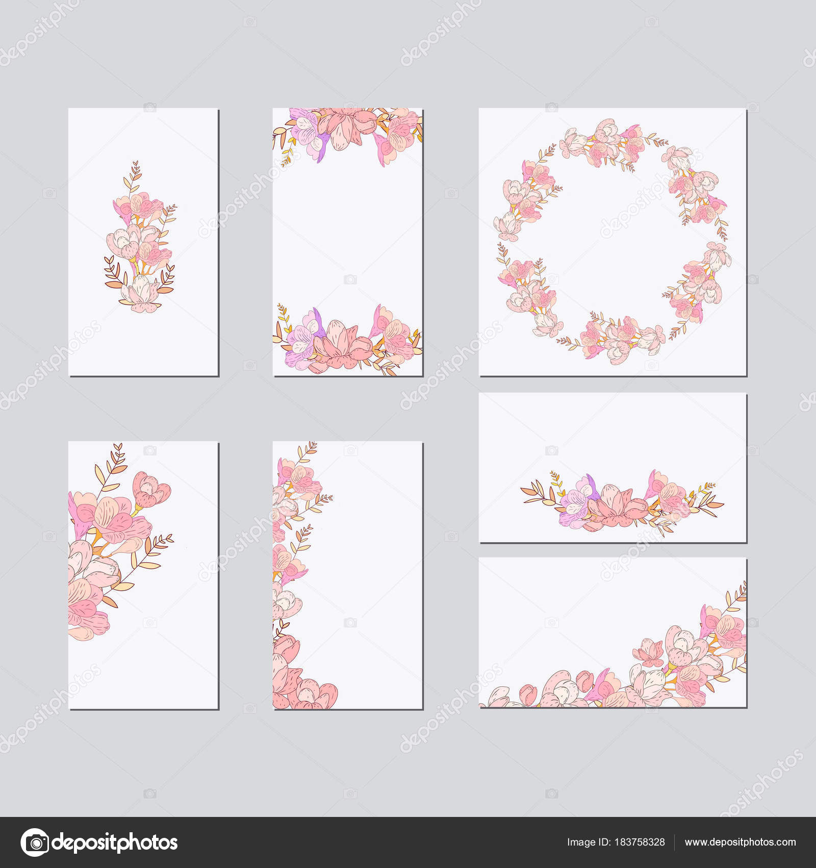 Colorful Greeting Wedding Invitation Card Illustration Set Flower