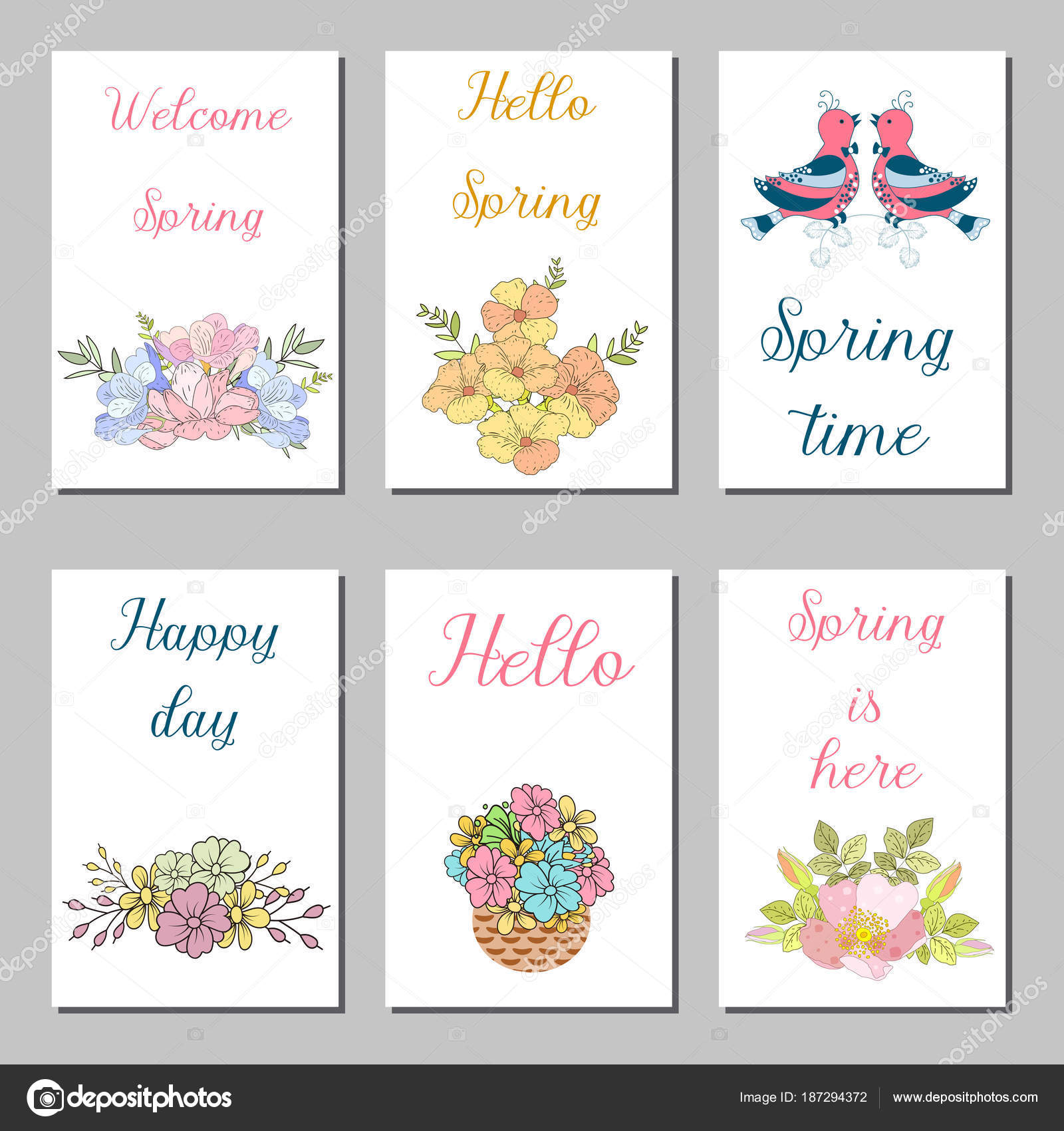 Birthday Cards Design Set With Abstract Flowers And Hand Written