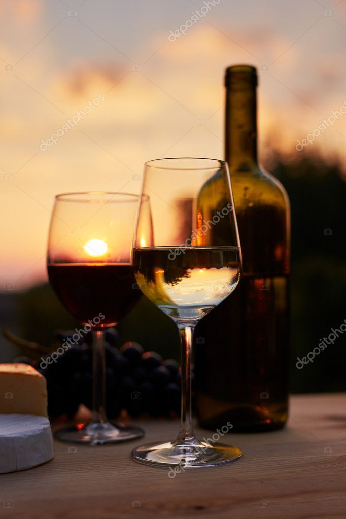 Low key image, two glasses of wine