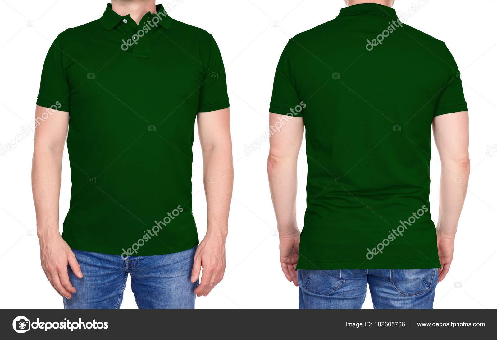 b4aaecc1e Design de t-shirt - homem em branco camisa polo verde escura isolada —  Fotografia