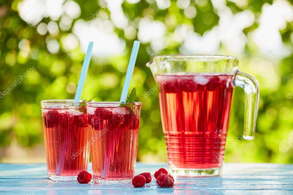Red lemonade with raspberry