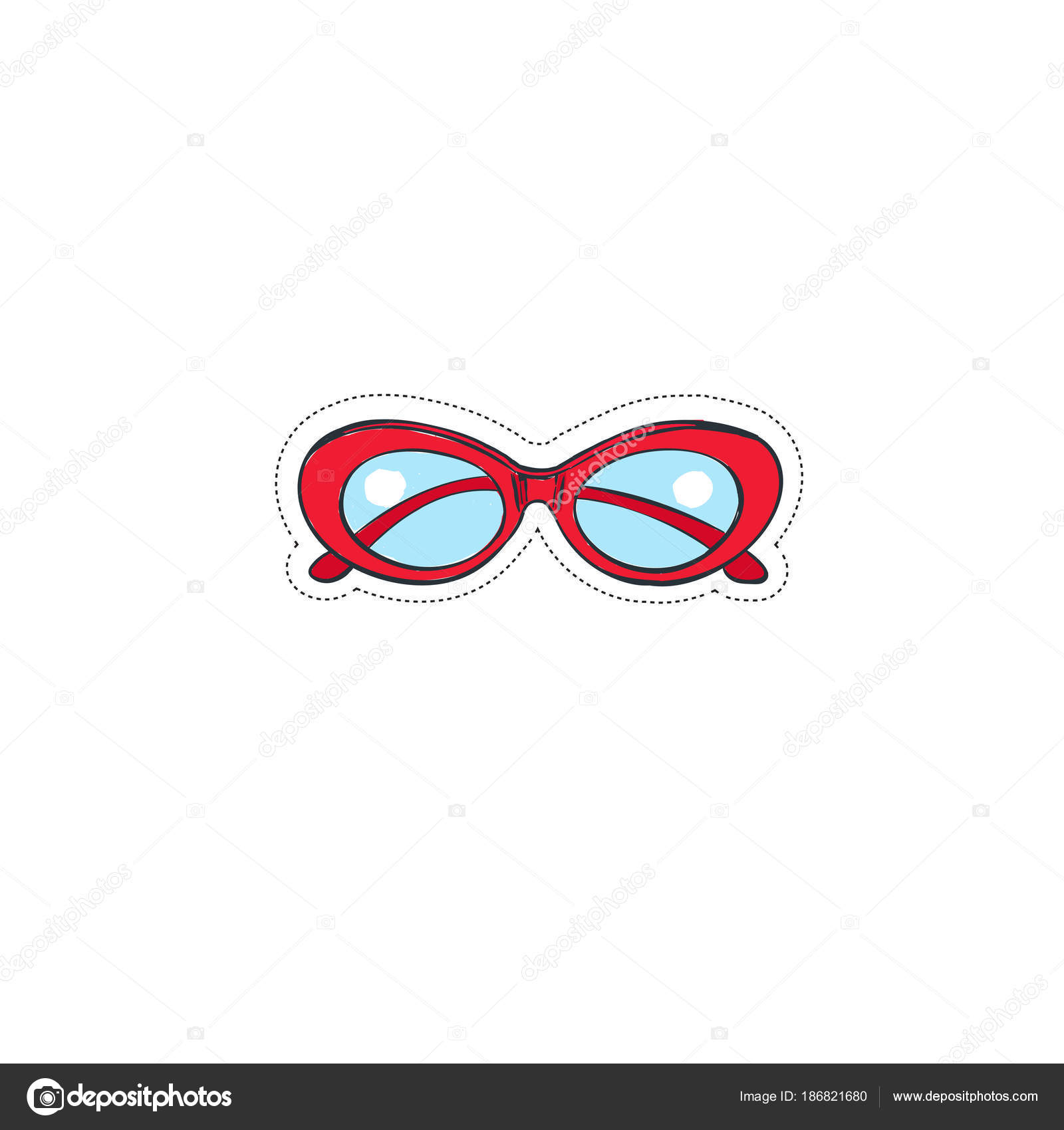 24b94e4727 Vintage red sunglasses. Vector hand drawn illustration. Sticker — Vector by  Wondersketch