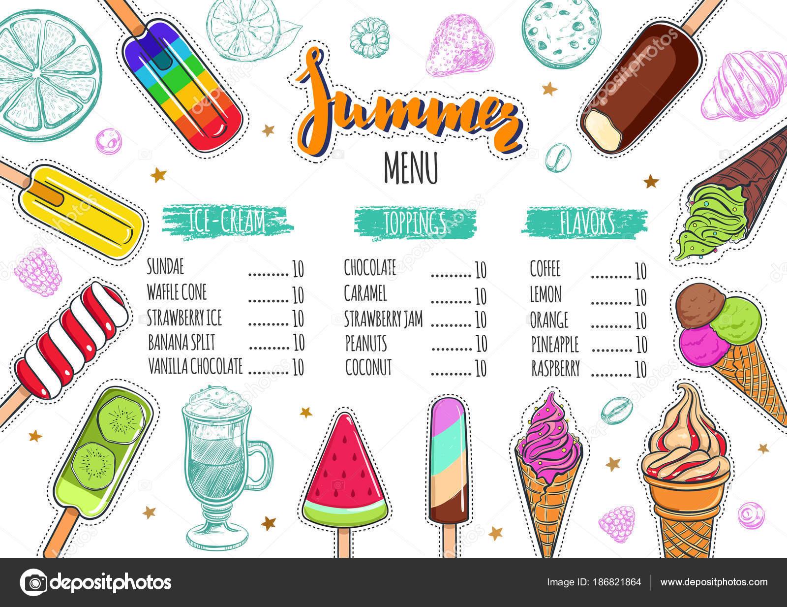 Menú de helados de verano 1 — Vector de stock © Wondersketch #186821864