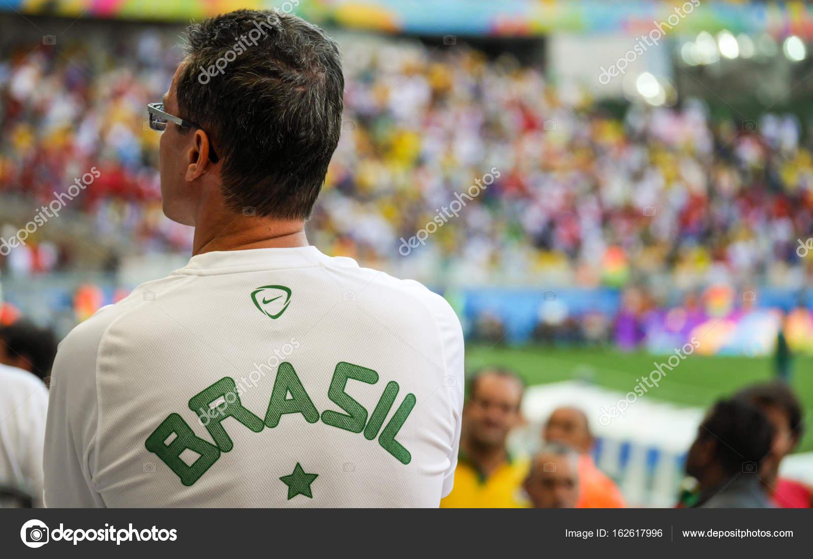 Brazil soccer fan at international football match – Stock Editorial ... 1c33675b3901
