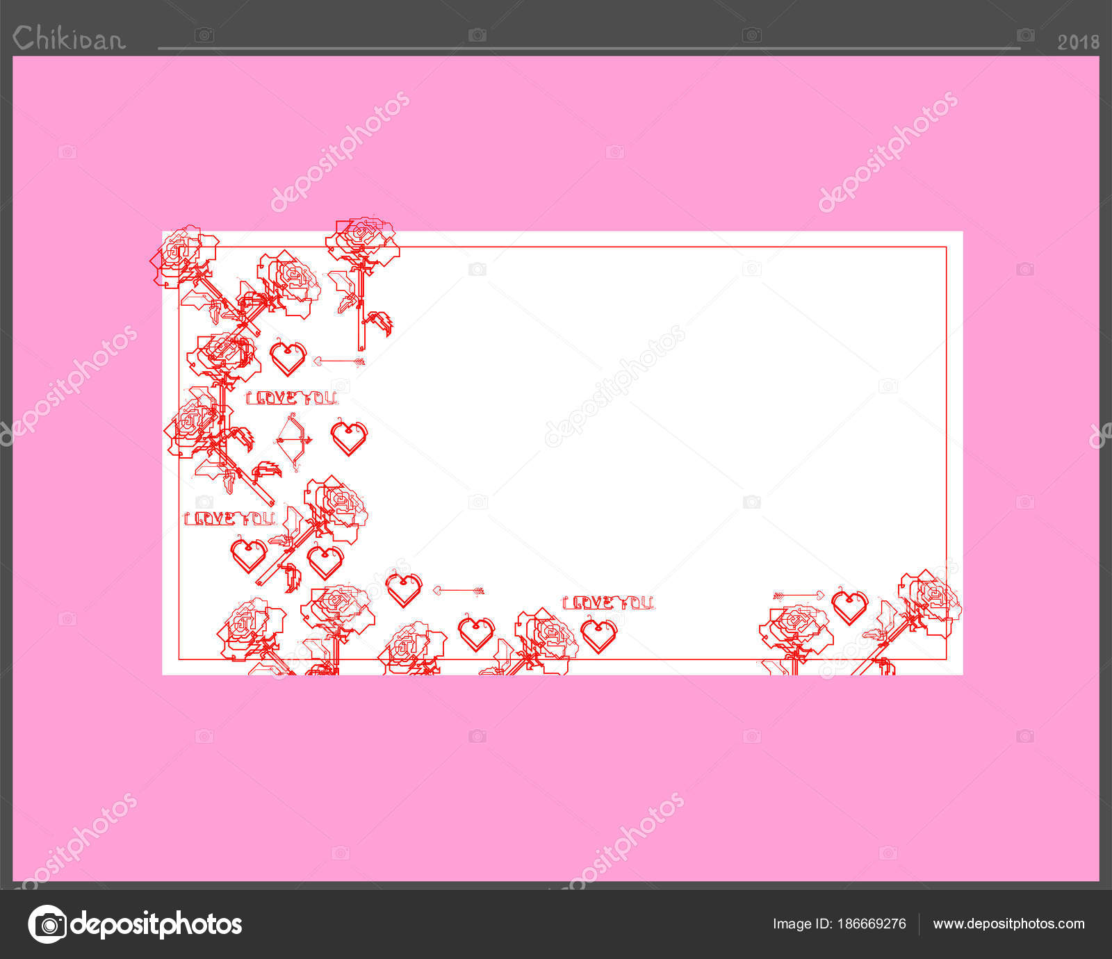 A Frame For Inscriptions Of Love Created From The Symbols Of The
