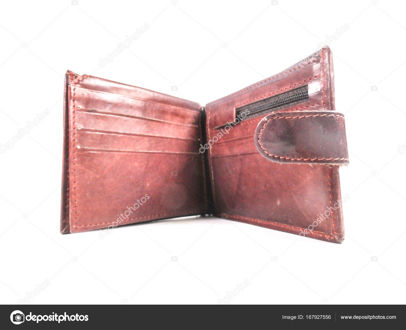 165154cb52 Πορτοφόλι. Ανδρικό πορτοφόλι. Γρι-γρι. Πορτοφόλι καφέ κατασκευασμένη από  δέρμα. Σε λευκό φόντο — Εικόνα από ...