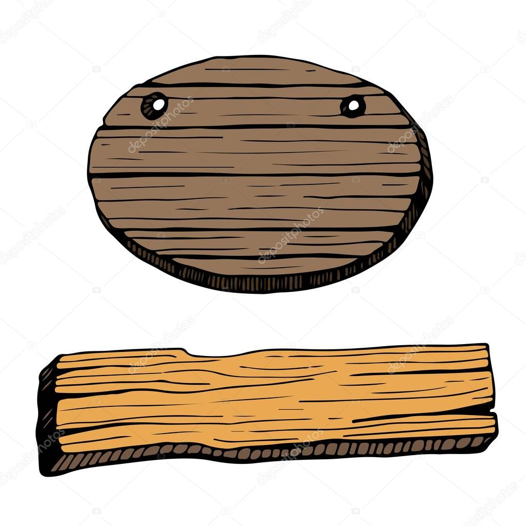 Wooden plaque illustration.