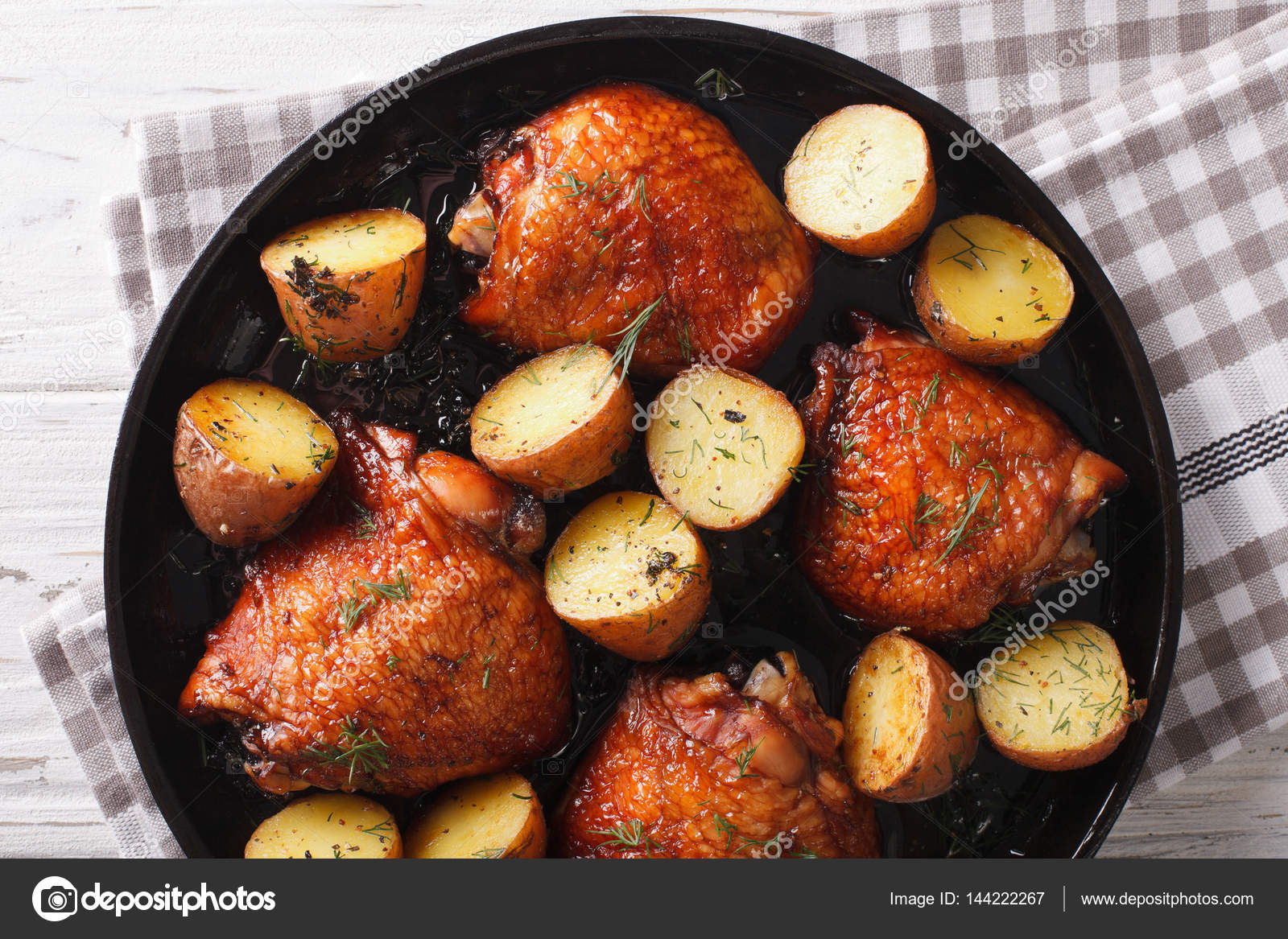 Bbq food maple chicken thighs and baby potatoes close up horiz bbq food maple chicken thighs and baby potatoes close up on a plate horizontal view from abov photo by lenyvavsha forumfinder Image collections