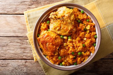 Brazilian food: Chicken and rice Galinhada Mineira close-up on a
