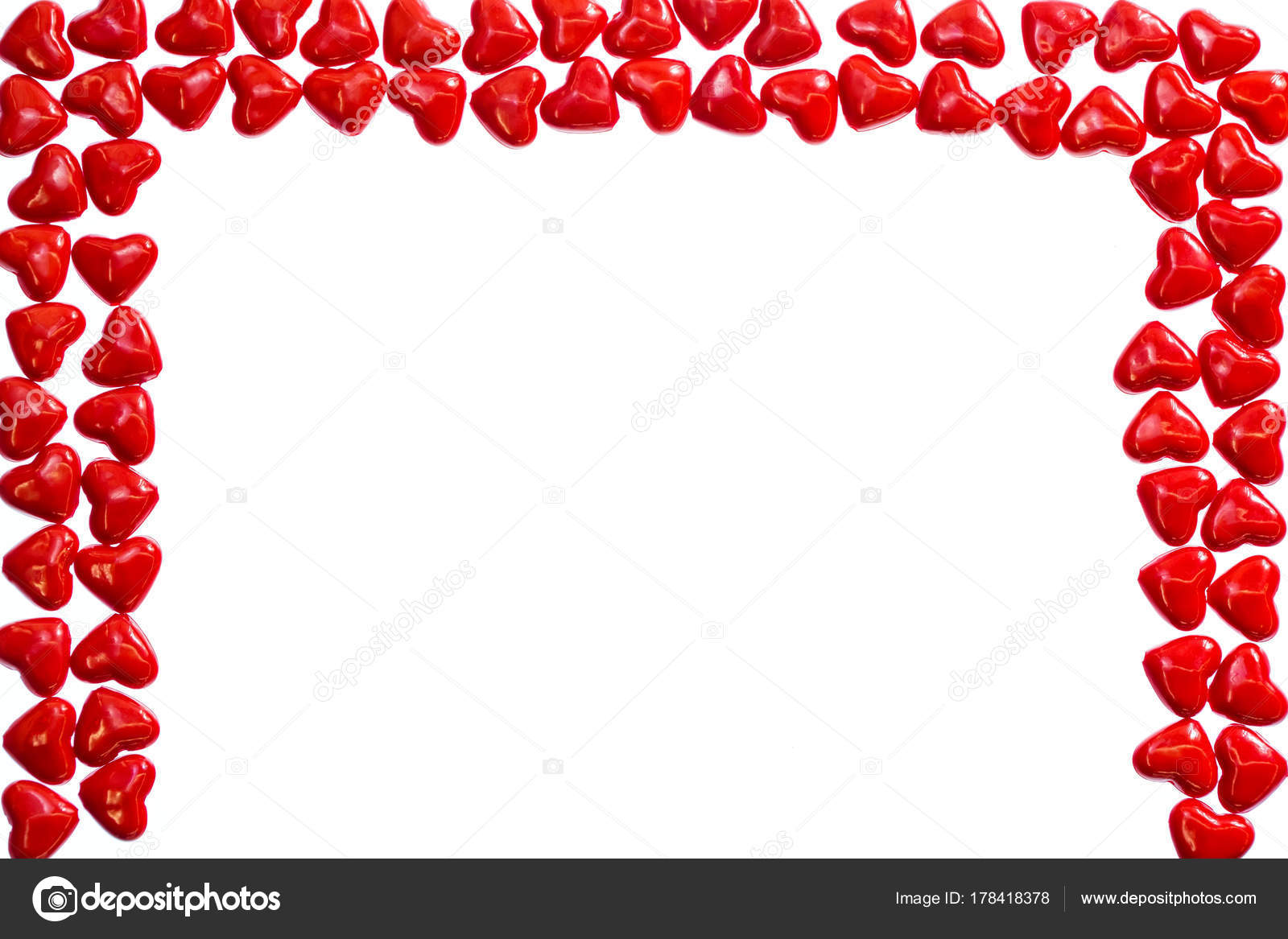 Valentines love concept: Rectangular frame of many red plastic ...