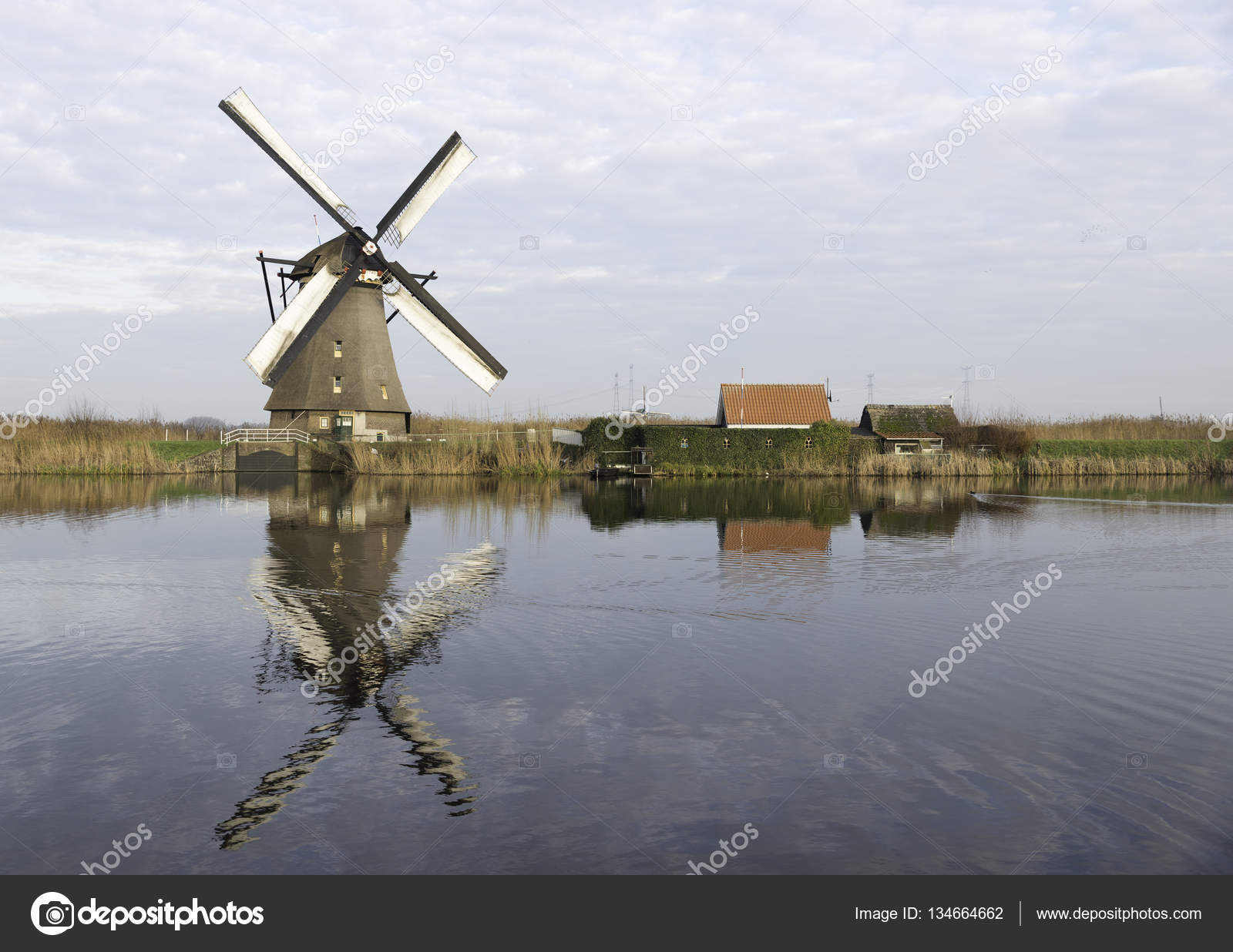windm hlen in kinderdijk holland stockfoto compuinfoto 134664662. Black Bedroom Furniture Sets. Home Design Ideas