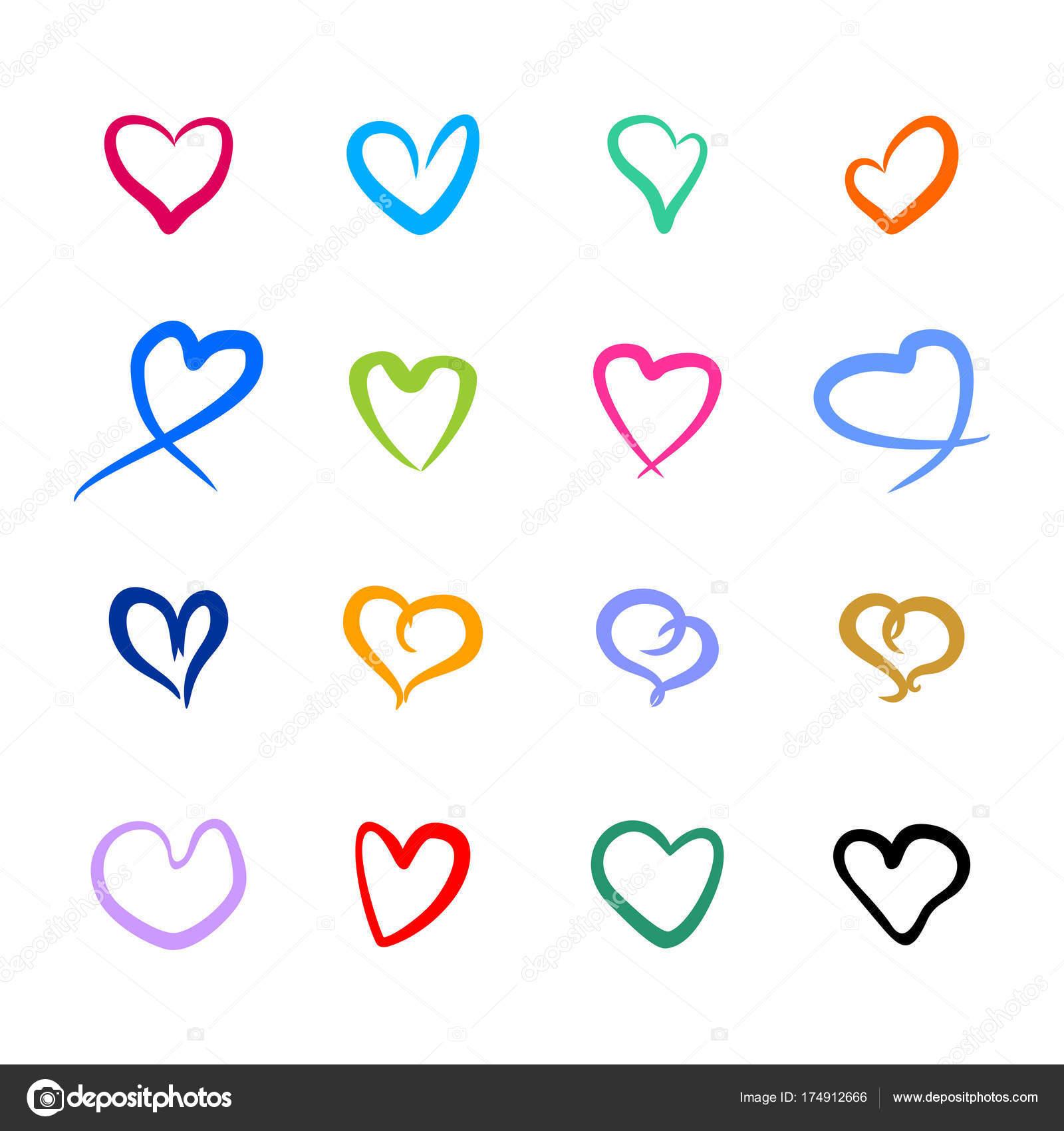 Set Vector Hearts Symbols Love Stock Vector Ymoiseeva 174912666