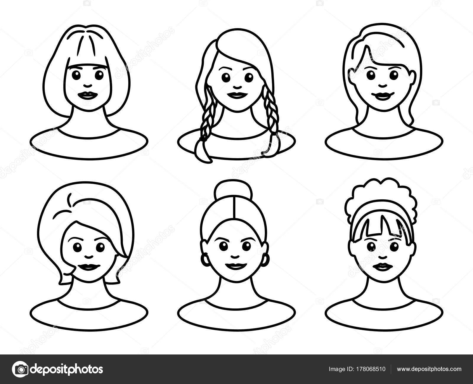 Conjunto Caras Hermosas Mujeres Jóvenes Para Avatar Sobre Fondo ...