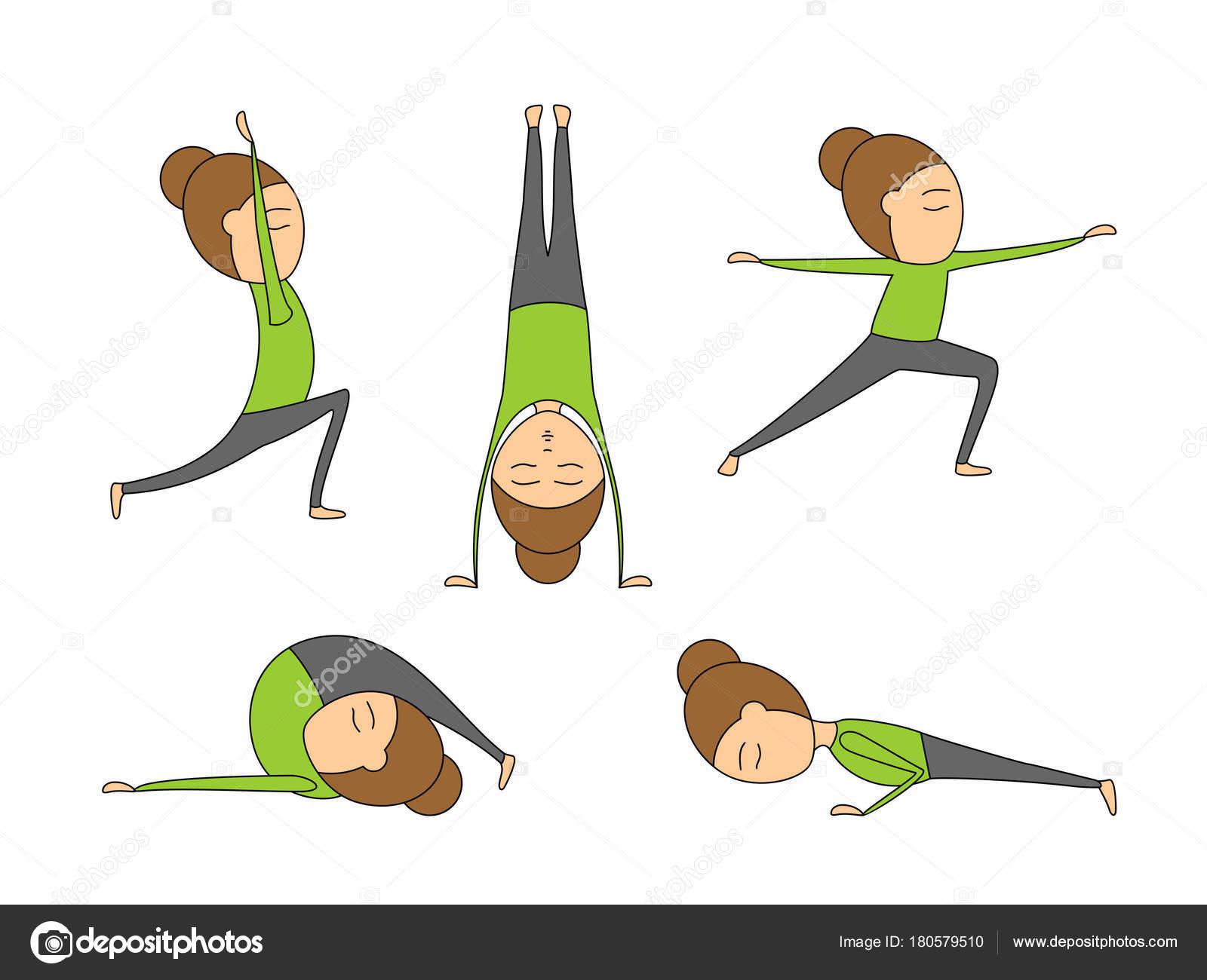 Vector Set Yoga Poses Health Flexibility Woman Exercises Class Stock