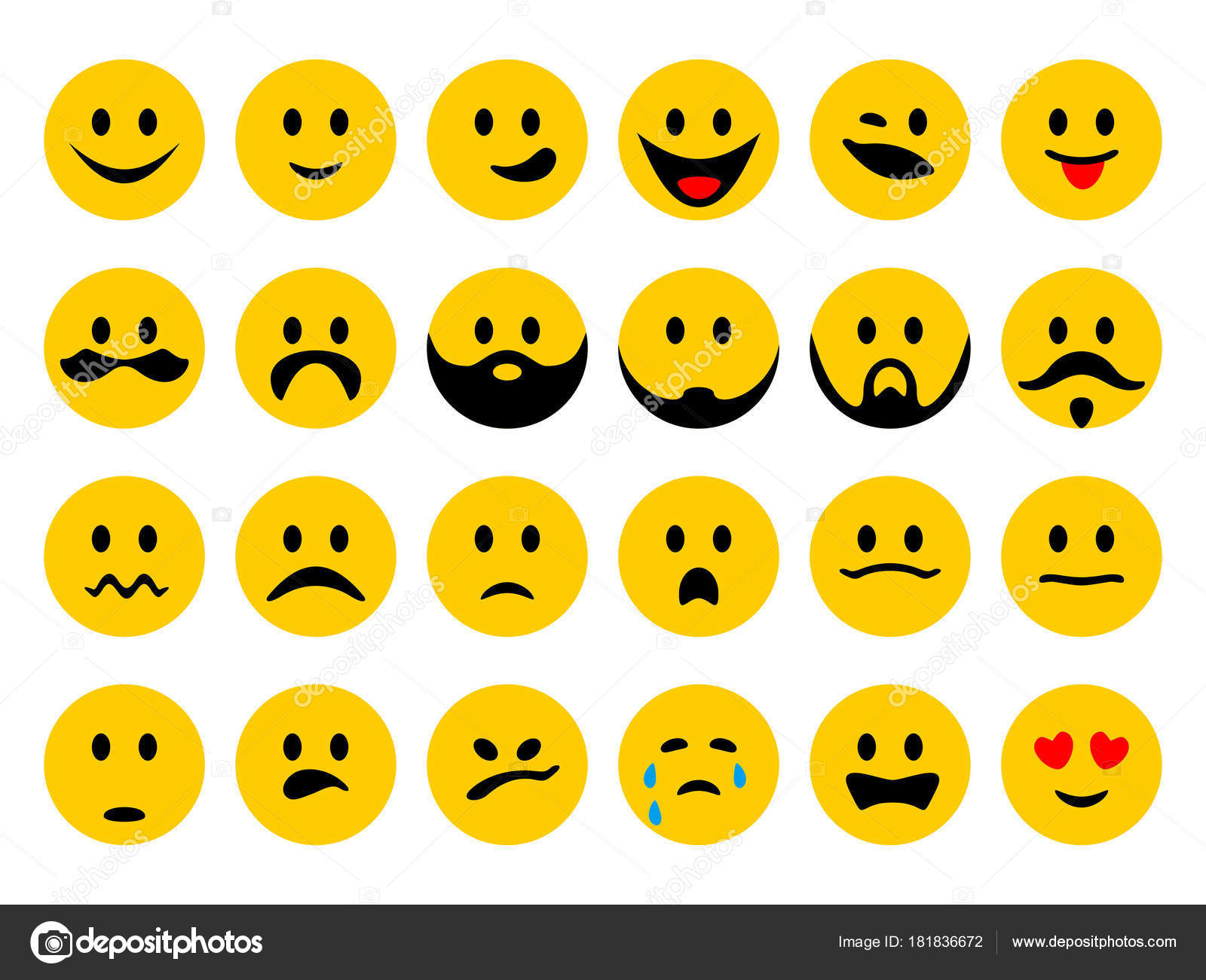Ensemble émoticones Smiley Emoji Dans Style Dessin Animé