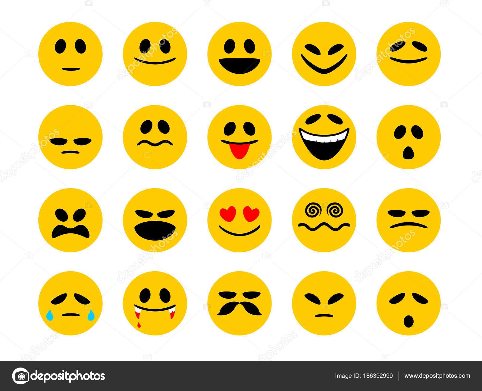 Set smiley emoticons emoji cartoon style isolated white background set smiley emoticons emoji cartoon style isolated white background message stock vector biocorpaavc