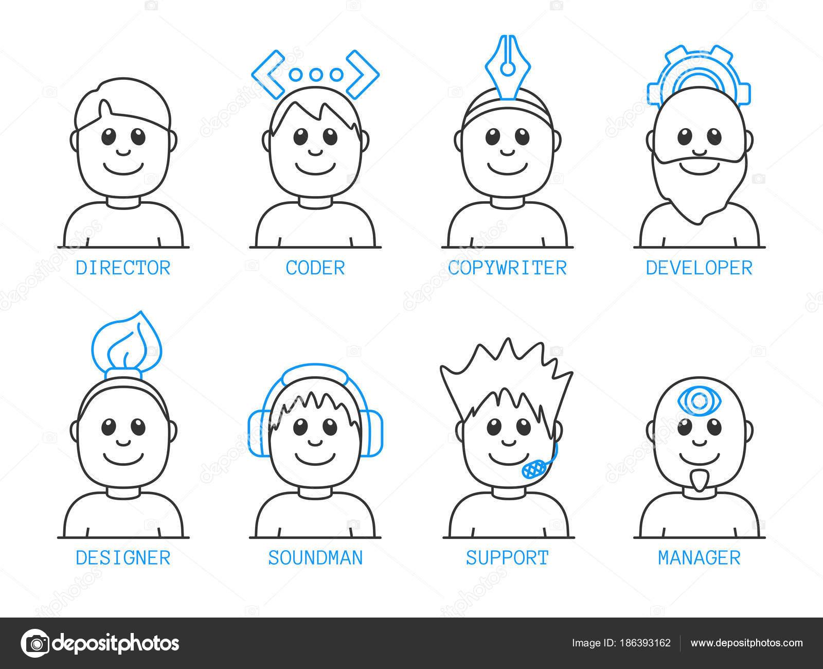 Concepto Iconos Para Equipo Web Creativo Estilo Contorno Set ...