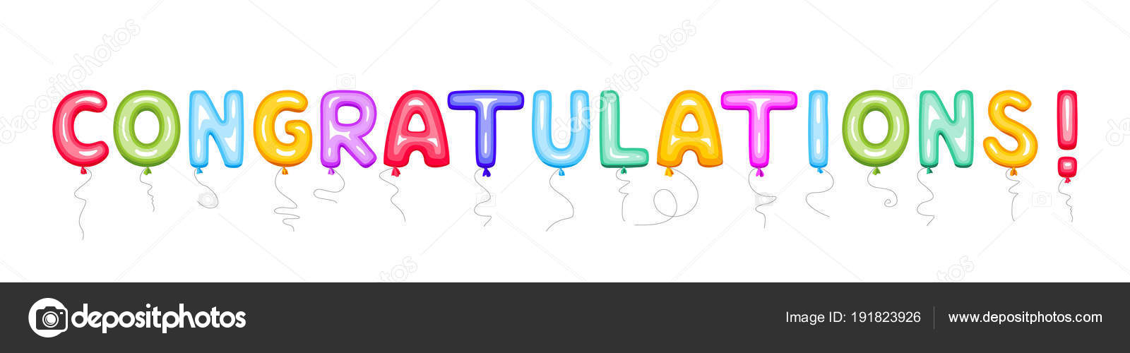 congratulations sign color balloons vector illustration use