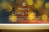 greeting cards for christmas and new year with a background of blurry light