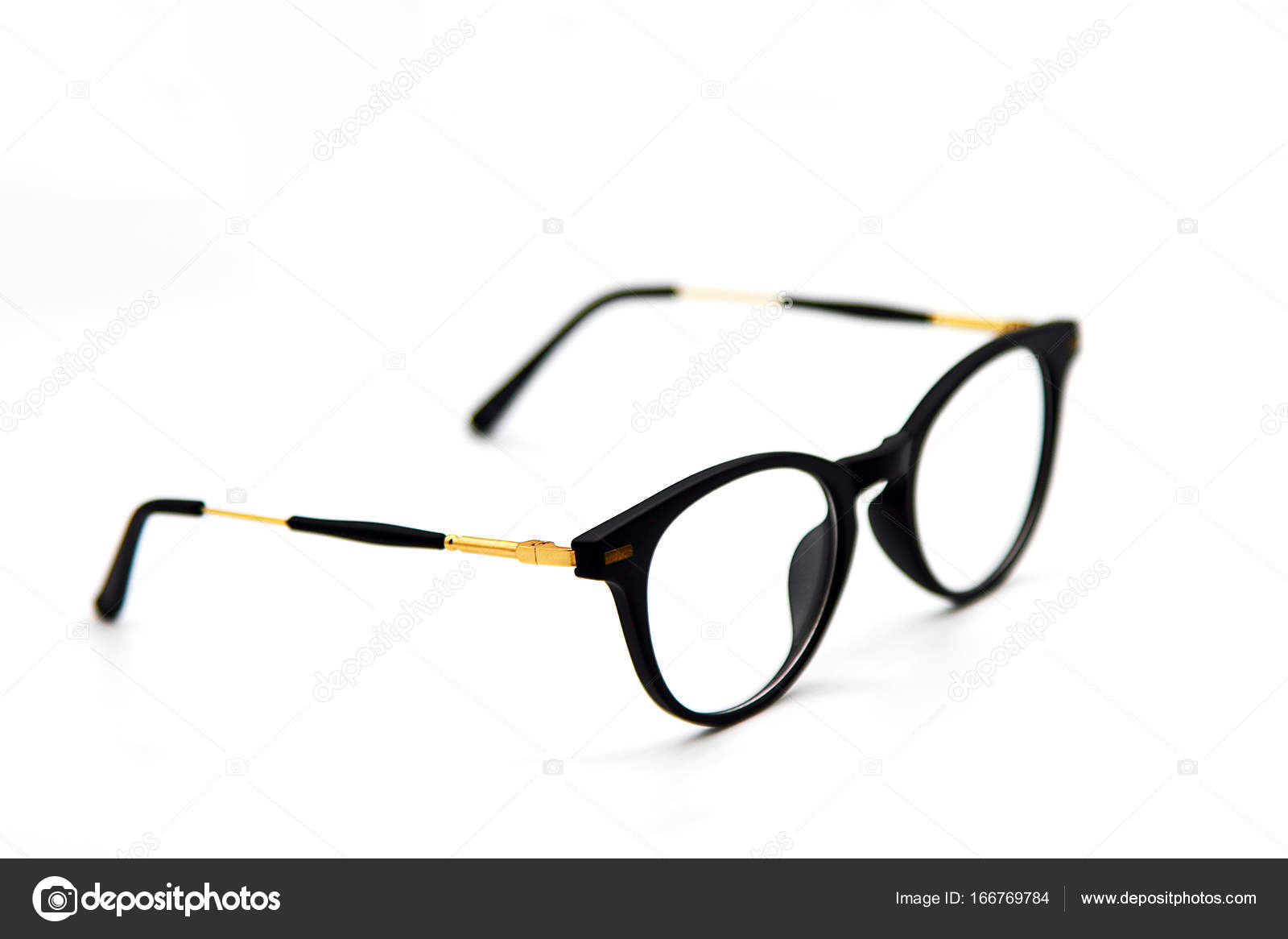 Modern Black And Gold Eye Glasses Isolated On White