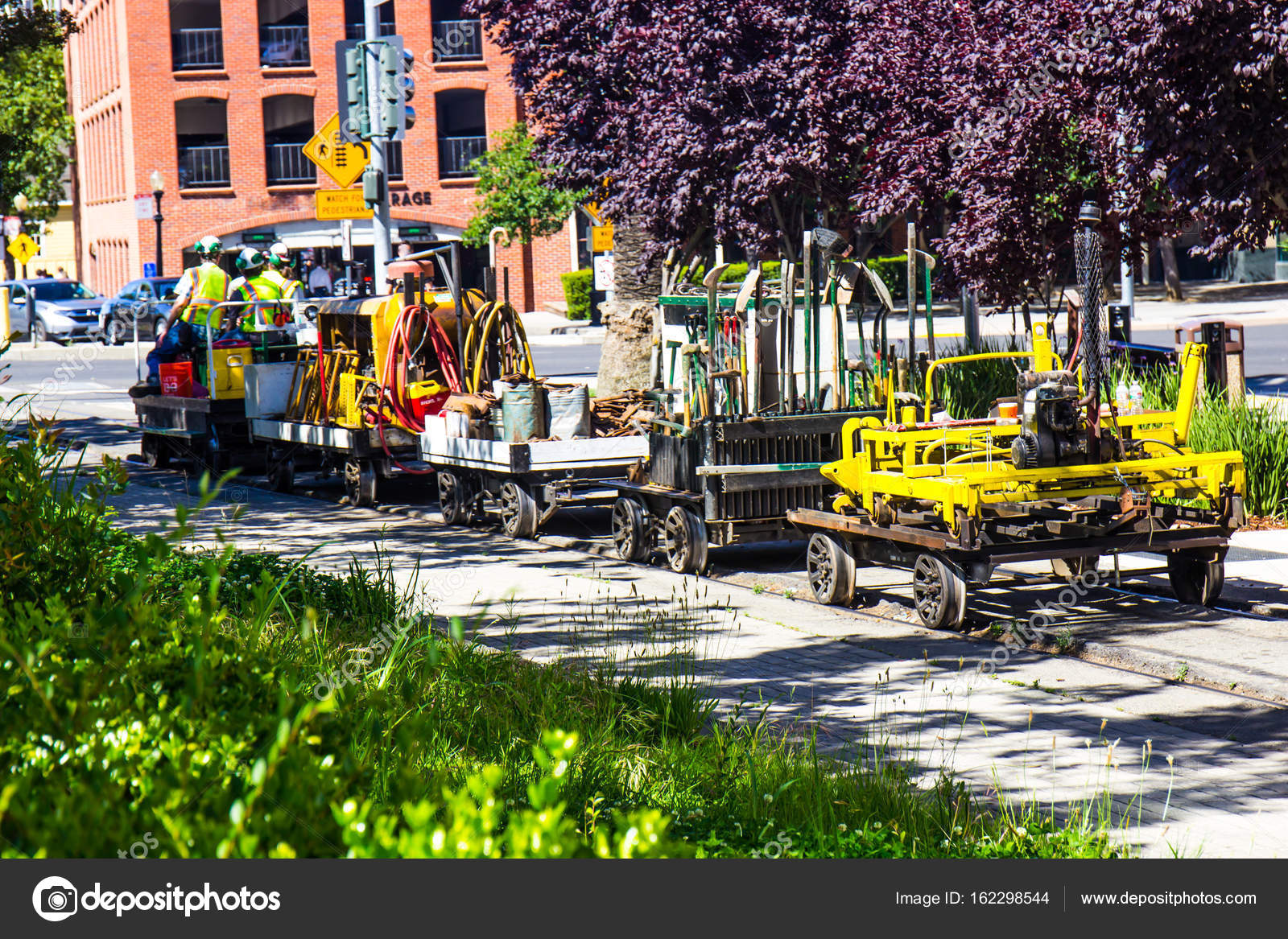 Railroad Maintenance Crew With Tools & Equipment – Stock Editorial