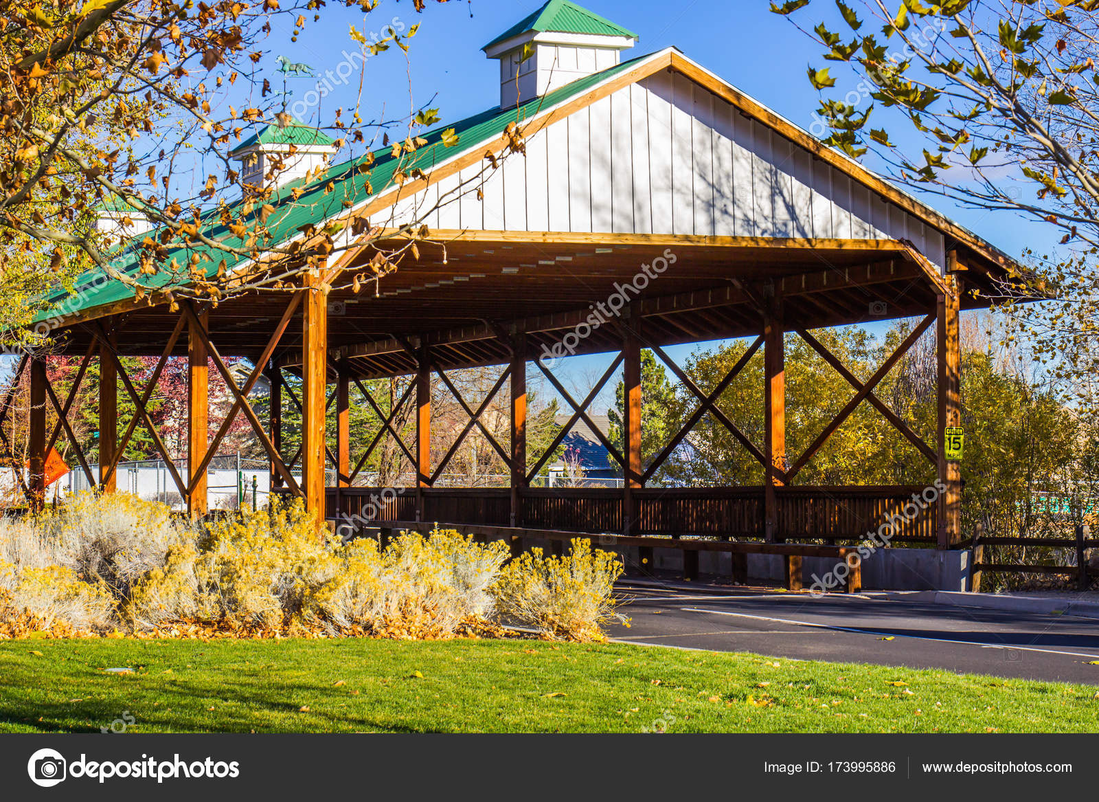Covered Wooden Bridge In Fall Stock Photo Weezybob5 173995886