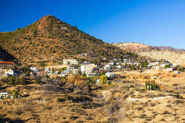 Old Mining Town Built On Side Of Mountain In Arizona