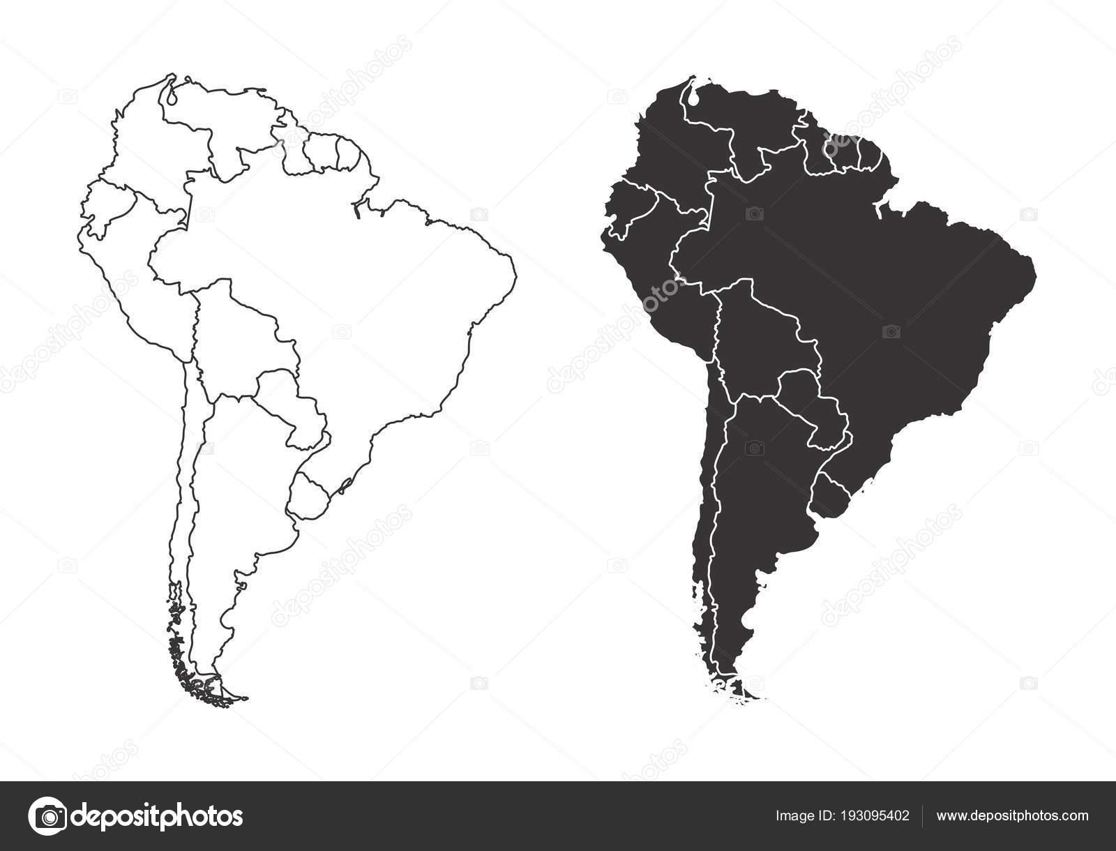 Amerika Karte Schwarz Weiß.Karten Von Süd Amerika Stockvektor Luisrftc 193095402