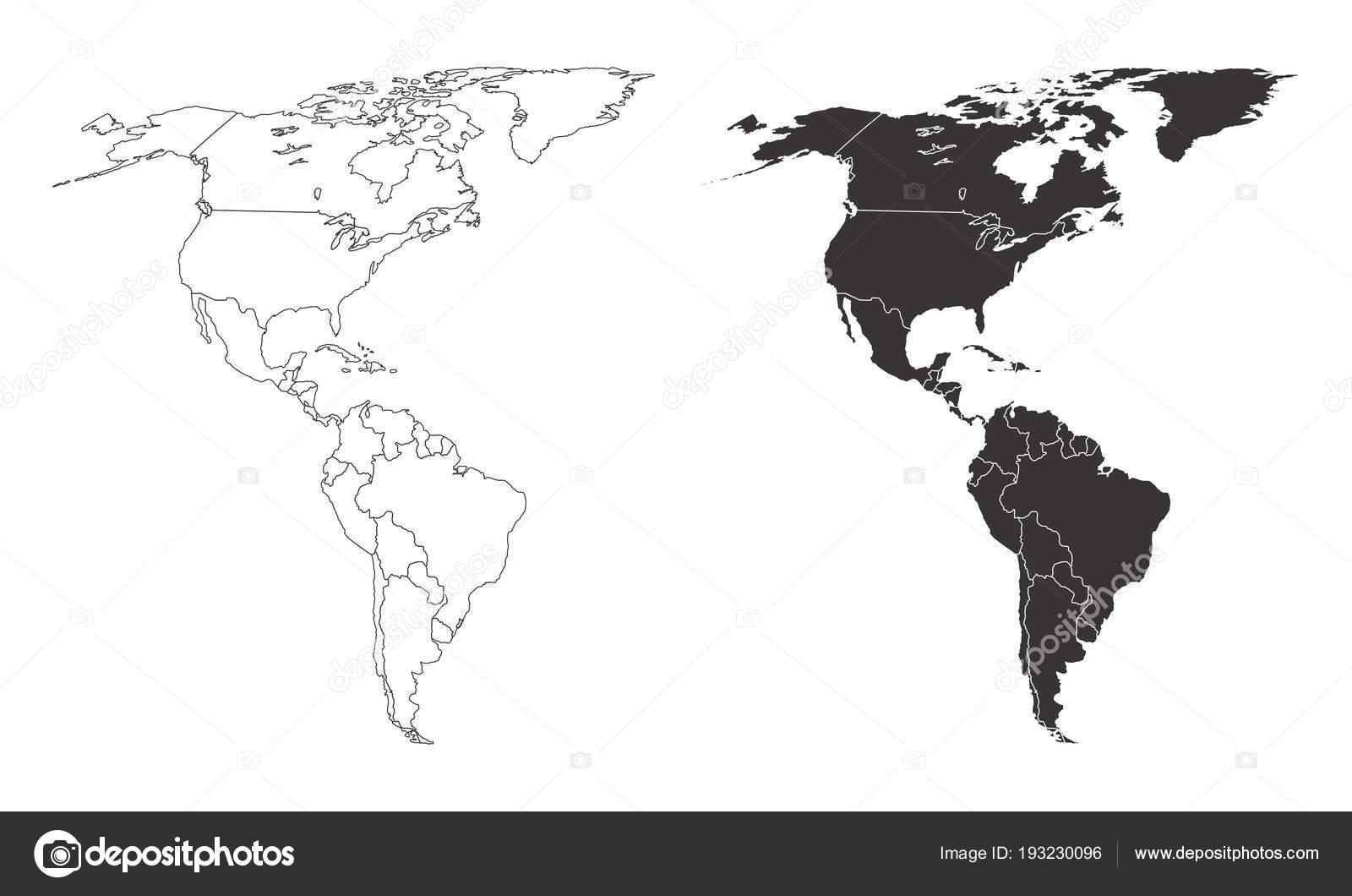 Amerika Karte Schwarz Weiß.Karten Von Amerika Stockvektor Luisrftc 193230096