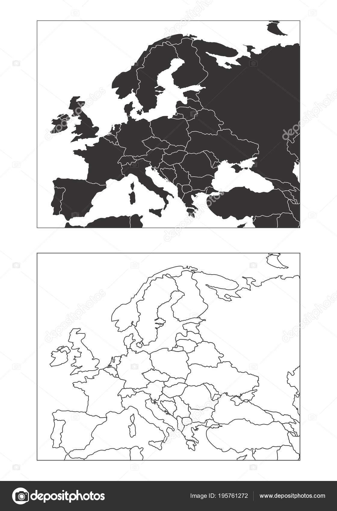 Karte Europa Schwarz Weiss.Karten Von Europa Stockvektor C Luisrftc 195761272