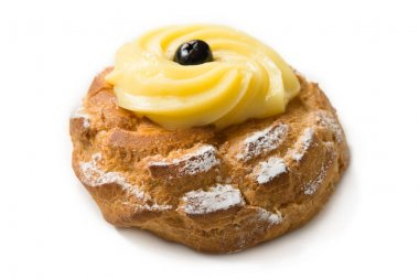 Zeppola of San Giuseppe, typical fritter filled with pastry cream, traditional food of Naples, Italy
