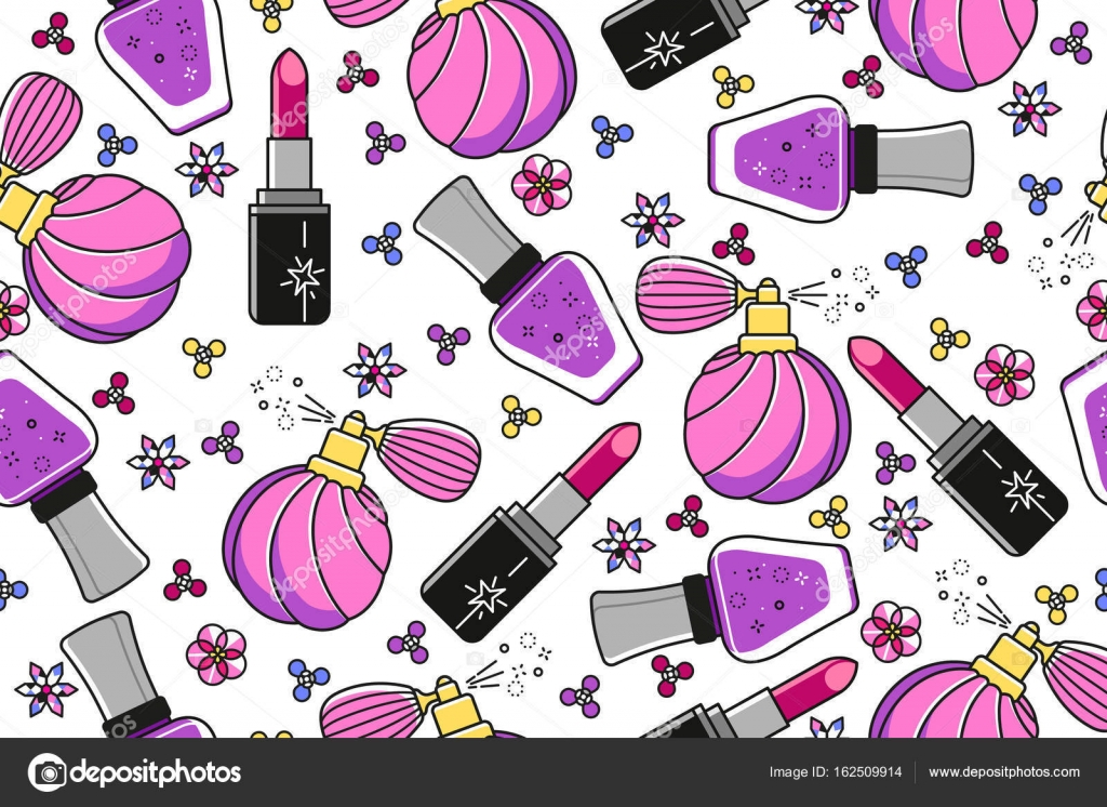 Patrón de embaldosado inconsútil de vector con perfume vintage ...