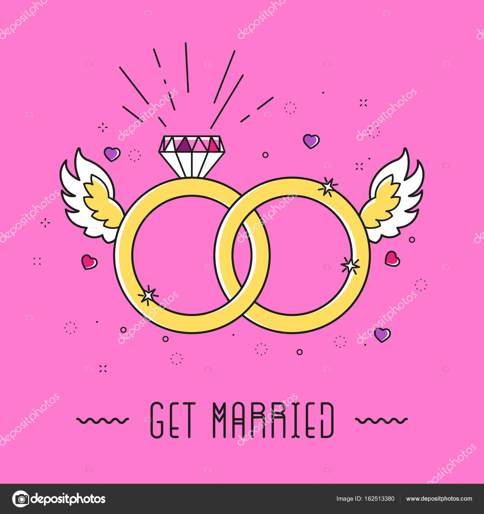 Vector golden color wedding rings icon on baby pink background ...