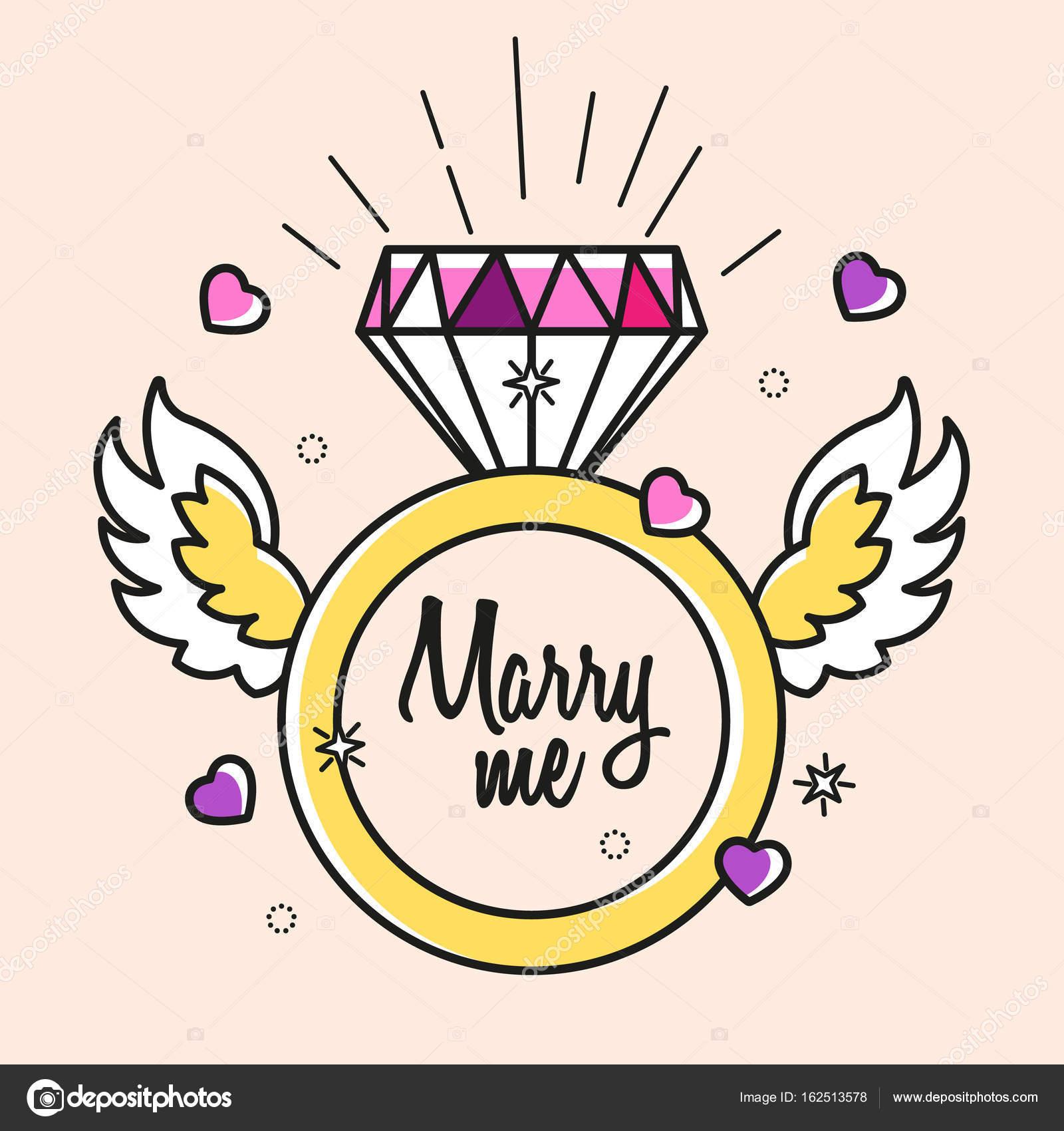 Vector de anillo de diamante casarse con plantilla. Tarjeta de boda ...