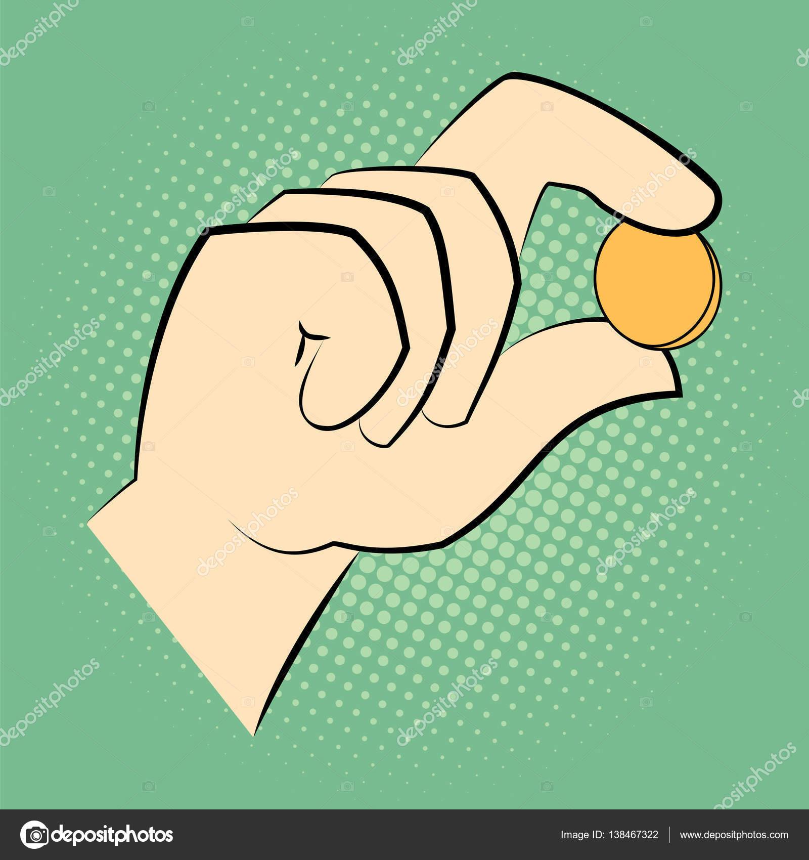 Mano sosteniendo una moneda entre dos dedos — Archivo Imágenes ...